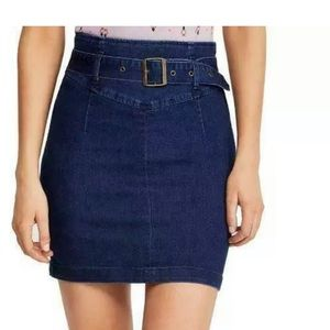 Free People Faded Indigo Belted Pencil Mini Skirt